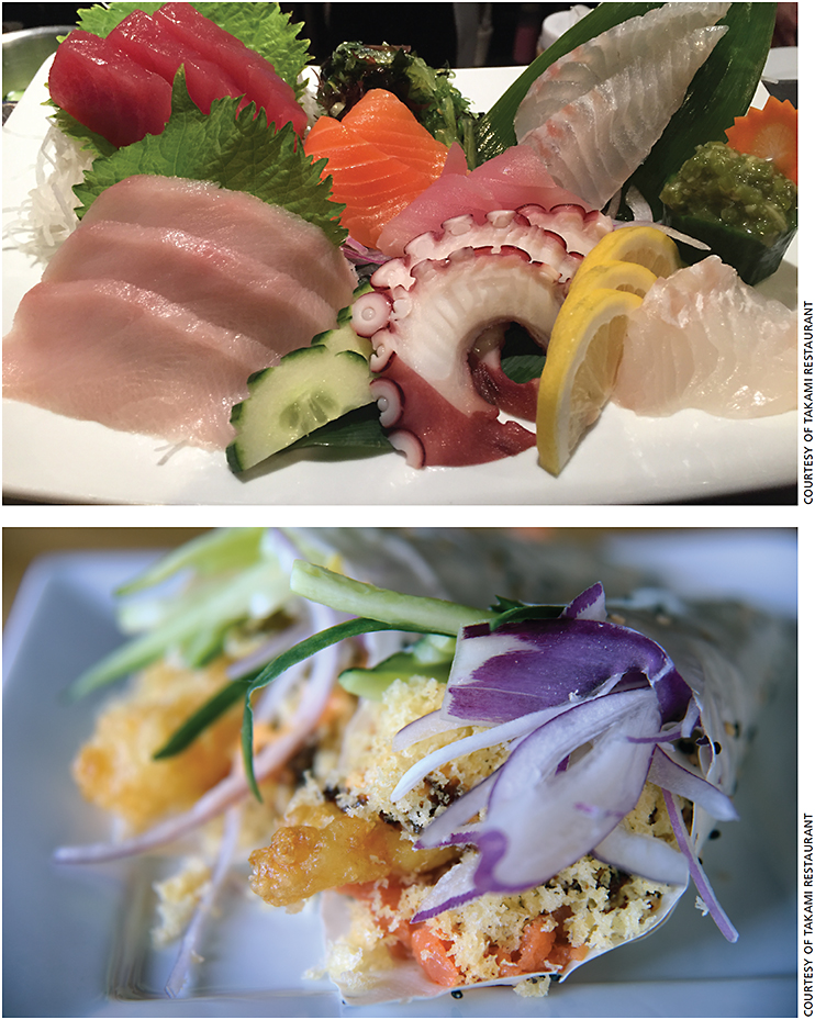 Sushi and sashimi offerings at Takami.