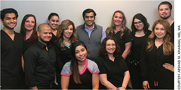 The clinical trials staff at Sierra Eye Associates. Standing, left to right: Amir Aziz; Margo Lewis; Nazrul Mojumder; Valery Cervantes; Mirna Garcia; Arshad M. Khanani, MD, MA; Brooklin Hall; Heather Southwick; Tiodora Lopez; Joshua Stoycoff. Sitting Left to right: Sylvia Arrona and Deanna Dorman.