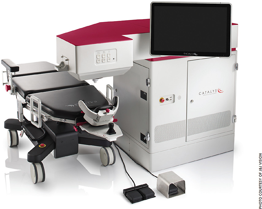 The CATALYS precision laser system with the mobile patient-bed.