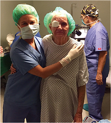 Dr. Becker with a cataract surgery patient, treated during an international mission trip.